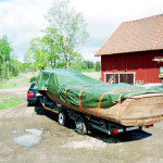 old wooden race boat