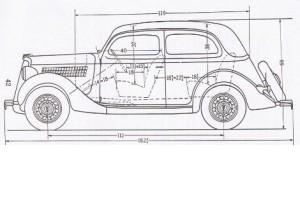 Ford V8 Tudor dimensions, måttuppgifter Netclassics