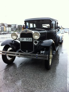 Ford Model A 4-door at the harbor of Visby Gotland