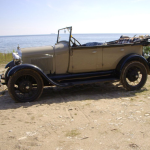 A-Ford Phaeton 1928 at the beach of Gotland Sweden